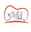 Cat and dog love heart logo vector