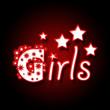 Girls in Red Black Background