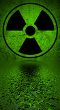 Ionizing radiation hazard symbol reflected in water surface. poster