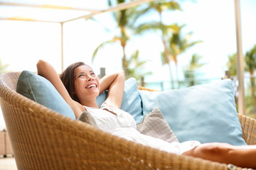 Sofa Woman relaxing enjoying luxury lifestyle
