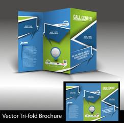 call center tri-fold brochure design