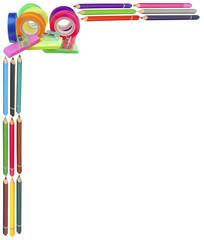 crayons de couleurs, adhésifs, gommes ...