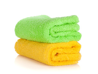 Green and yellow towels