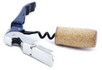 Isolated Bottle Opener with Wine Cork