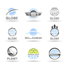 Set of Earth globe icons (3).