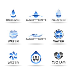 Set of water design elements. Water icon (4).