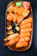 Assorted sushi with salmon, shrimp and eel