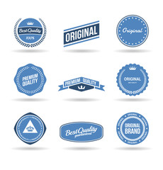 Set of premium quality badges and original labels (2).