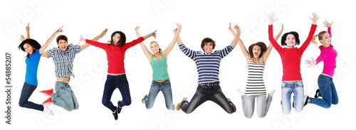 Group of happy young people jumping in the air