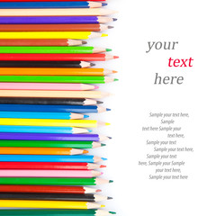 Collection of colored pencils & text