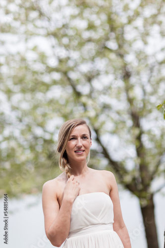 Young woman enjoying a spring walk