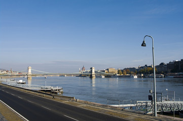 View of a chain bridge in Budapest, Hungary