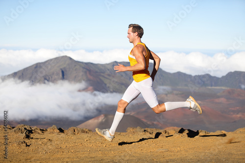 Runner man athlete running sprinting fast