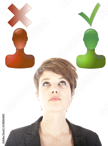 Young woman making good or bad choice isolated