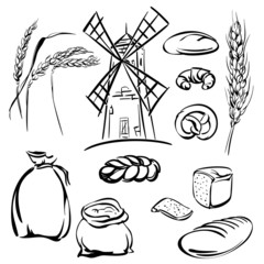 bread icons set vector  illustration