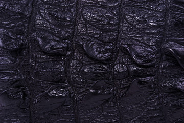 skin crocodile textured black leather