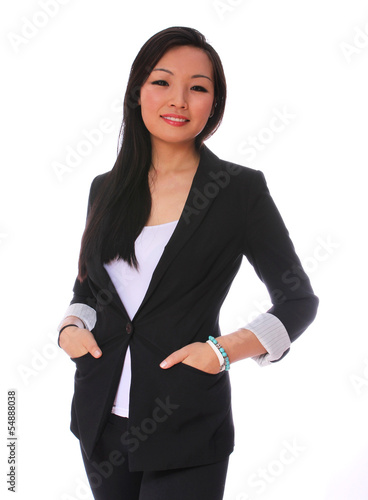 Business woman smiling isolated on white. beautiful Asian woman