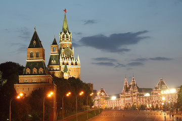 Moscow Kremlin towers and GUM building. Night view.