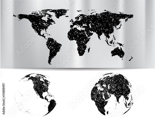 grunge world map with globe © miloje