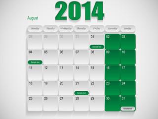 Calendar design August