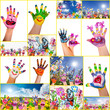 Happy, smiling, colorful hands