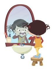 limpiando los dientes