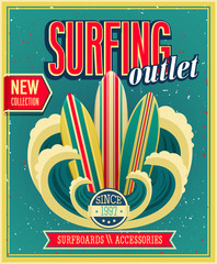 Surfing outlet. Vector ilustration.