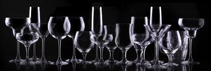 set with different empty glasses