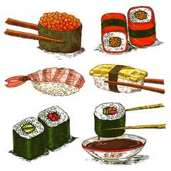 tasty rolls and sushi set