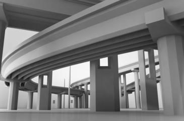 Мост, многоуровневая эстакада, дорога, развязка