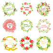 Set of Vintage Christmas and New Year Wreath