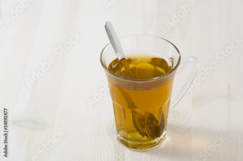 Glass of green tea