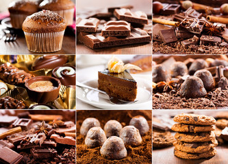 collage of various chocolate products