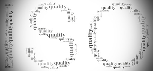 Tag or word cloud quality management related in shape of ISO