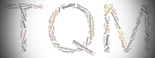 Tag or word cloud quality management related in shape of TQM