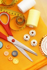 Various sewing items on cloth