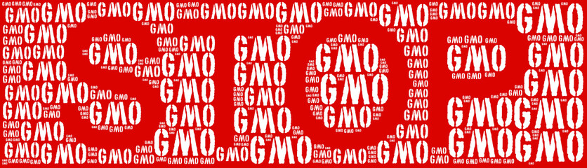 Tag or word cloud genetically modified organisms or GMO in shape