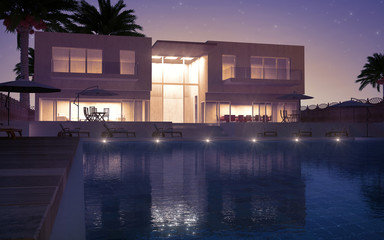 Modern villa night view
