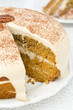 carrots and pumpkin cake with coffee cream in a cut