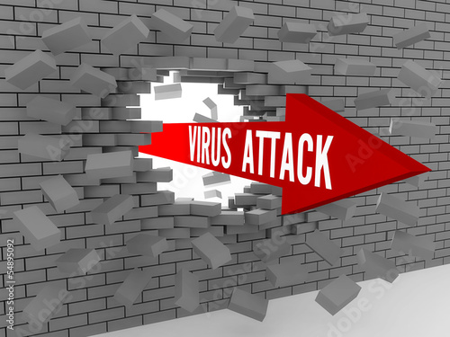 Arrow with words Virus Attack breaking brick wall.