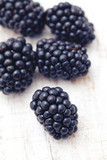 blackberries on wooden table