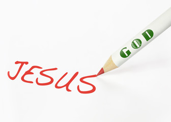 A God labeled pencil writing the word Jesus