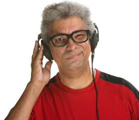 Squinting Man with Headphones