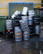 Used beer barrels