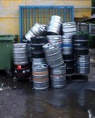 Used beer barrels