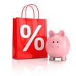 Sparschwein mit der Einkaufstasche - 3D Illustration