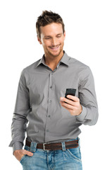 Portrait Of Happy Man Using Mobile