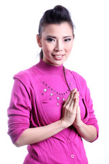 Thai woman welcome expression Sawasdee.