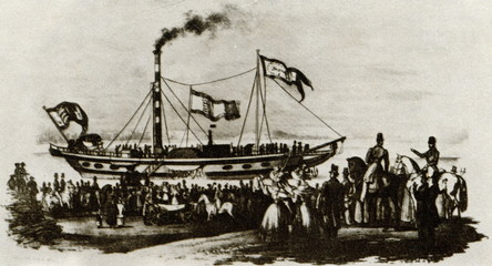 "First paddle steamer of the Austrian DDSG ""Franz I"" (1832)"