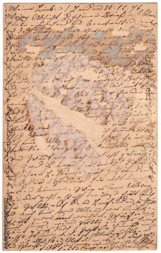 Antique scratched postcard with calligraphic handwriting